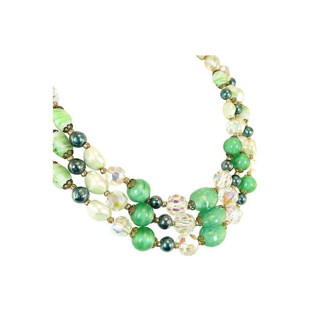 Mid-Century Modern Austrian Crystal & Peking Glass Necklace, 1950s For Sale - Image 3 of 8