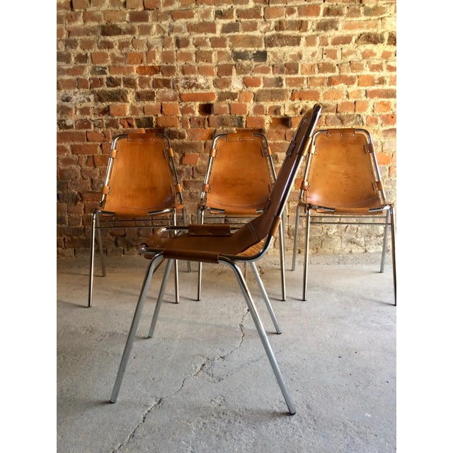 Les Arcs Leather Tan Dining Chairs, 1970s - Set of 4 For Sale - Image 4 of 11