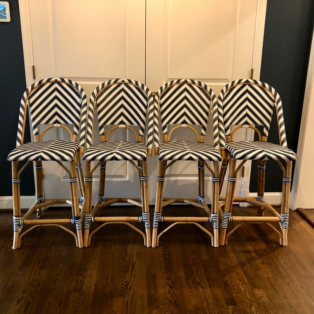 Blue Serena & Lily Chevron Riviera Stools - Set of 4 For Sale - Image 8 of 8