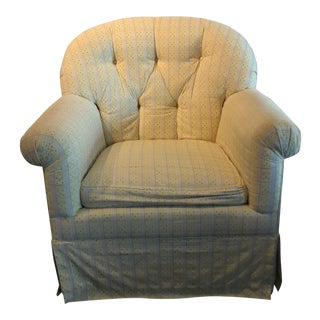 Robert Allen Fabric Covered Swivel Rocker Tufted Club Chair With Kick Pleat Skirt For Sale