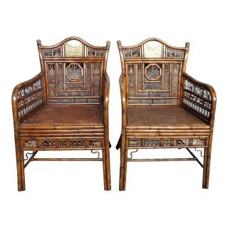 Hollywood Regency Brighton Pavilion Bamboo Arm Chairs - a Pair For Sale