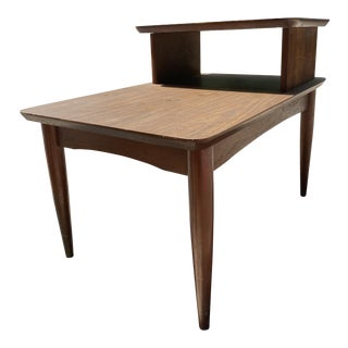 Vintage Mid-Century Solid Walnut End Table For Sale