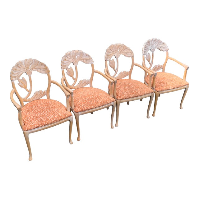 1970s Vintage Lime Wash Floral Carved Dining Chairs in the Manner of Phyllis Morris - Set of Four For Sale