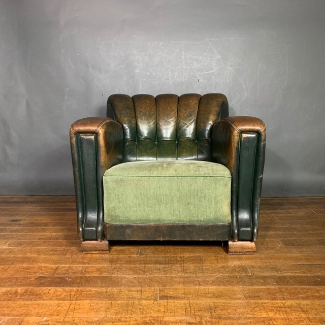 French Art Deco Green Leather Club Chair, 1930s For Sale - Image 12 of 12