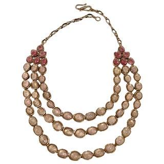 Goossens Paris Jaipur Triple Row Tinted Rock Crystal Necklace For Sale