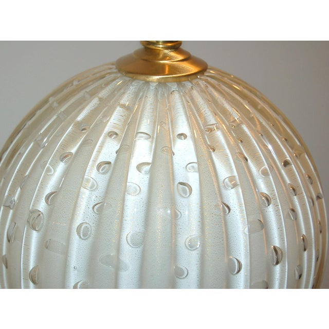 Murano Glass Stacked Ball Table Lamps White Gold Bubbles For Sale In Little Rock - Image 6 of 11