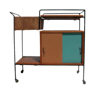 Vintage Arthur Umanoff Bar Cart on Casters For Sale