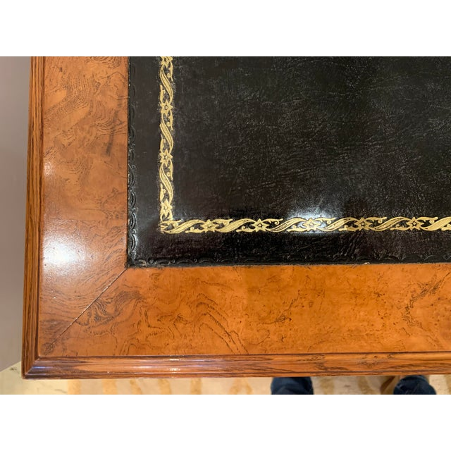 Black Vintage Mahogany Writing Desk With Black Leather Top For Sale - Image 8 of 13