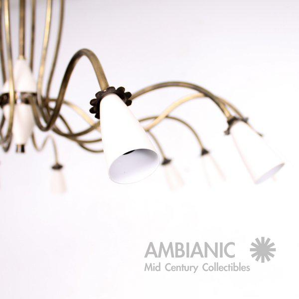 Mid-Century Modern 12 Arm Chandelier For Sale - Image 4 of 9