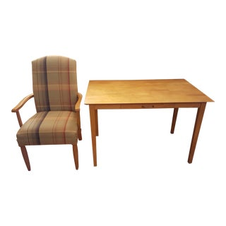 Plaid Highback Armchair & Writing Desk For Sale