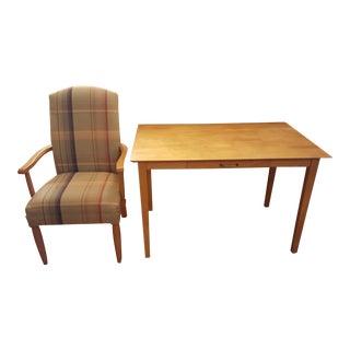 Plaid Highback Armchair & Writing Desk
