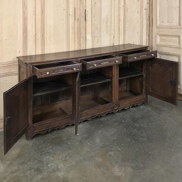 19th Century Country French Provincial Oak Low Buffet For Sale - Image 10 of 13
