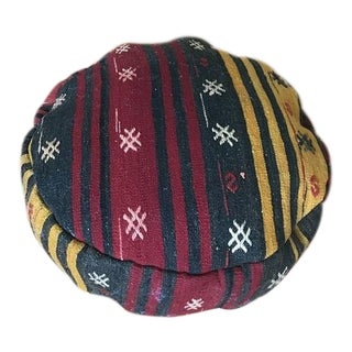 Embroidered Kilim Pouf