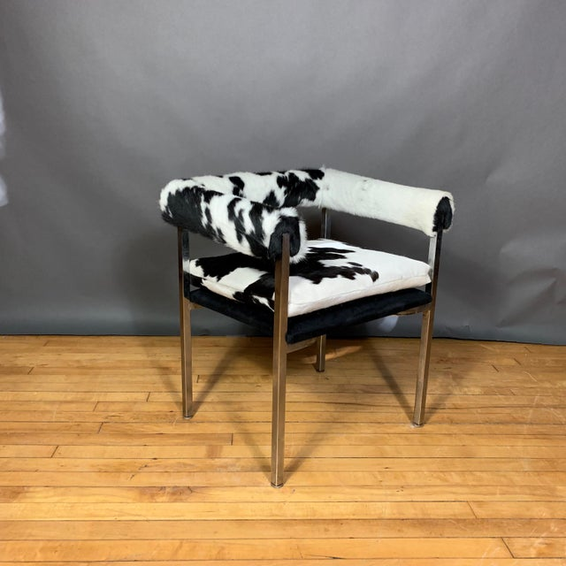 Animal Skin American Modern 1960s Chrome & Hide Rollback Armchair For Sale - Image 7 of 11