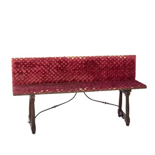 Baroque Revival Spanish Walnut Trestle Bench With Original Velvet Upholstery, Spain, Circa 1870 For Sale