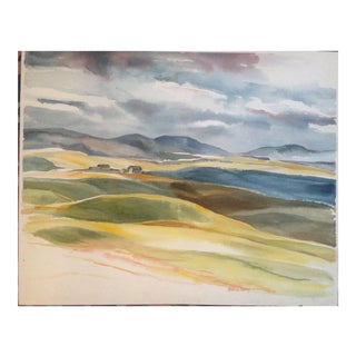 Countryside Watercolor From 1960s Bay Area Landscape Painting For Sale