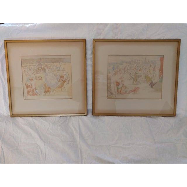 1920 French Nude Beach by Thérèse Lessore Paintings - a Pair For Sale - Image 13 of 13