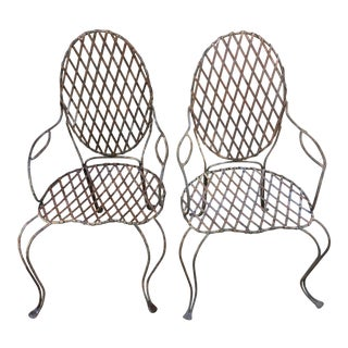 Rose Tarlow Melrose House Twig Iron Outdoors Chairs - a Pair