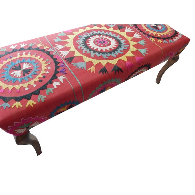 Wood Set of 5 Suzani Covered Bench Handmade Ottoman From Anatolian With 4 Pieces Footstool For Sale - Image 7 of 13