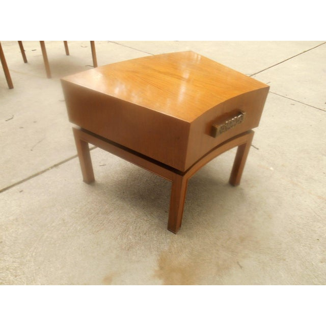 Rare mid-century modern floating walnut butcher block lamp table designed by Century Furniture USA. Although I can't find...