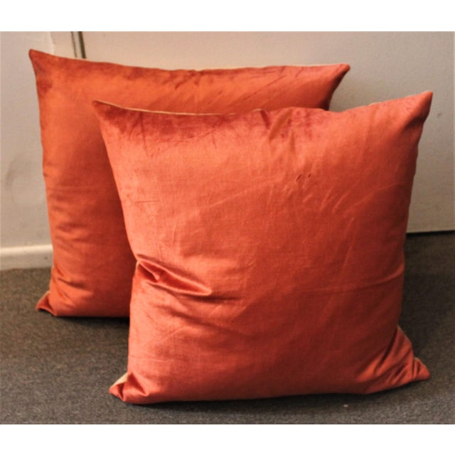 These silk velvet pillows are really wonderful and soft with cotton linen backings. Sold in pairs. Three pairs in stock.