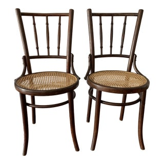 Thonet Style Bentwood Spindle Cane Chairs - a Pair For Sale
