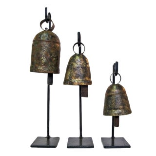 Set of 3 Vintage Bells From India For Sale