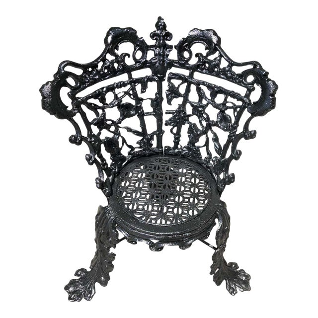 Antique Garden Chair Cast Iron in the Morning Glory Pattern For Sale