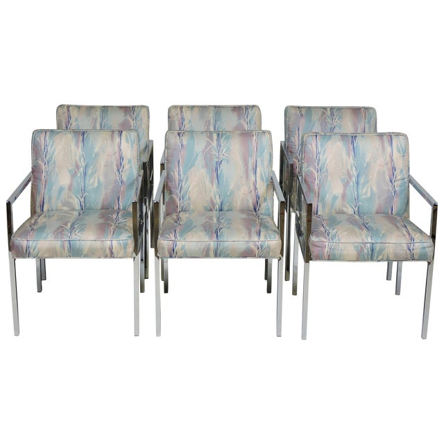 Six Design Institute of America Dia Mid-Century Modern Chrome Dining Chairs For Sale