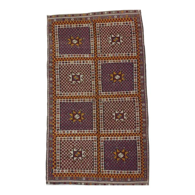 1960s Turkish Embroidered Kilim Wool Rug For Sale