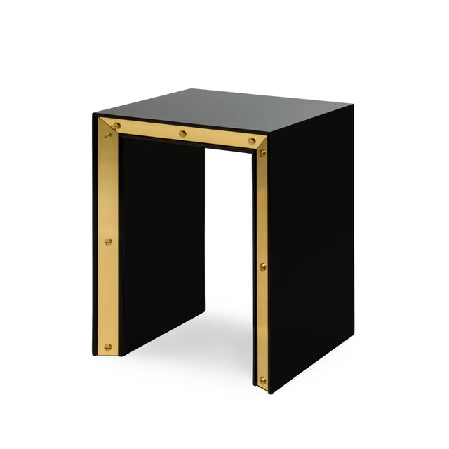 Contemporary Small Edge Side Table in Black / Brass - Flair Home for The Lacquer Company For Sale - Image 3 of 3