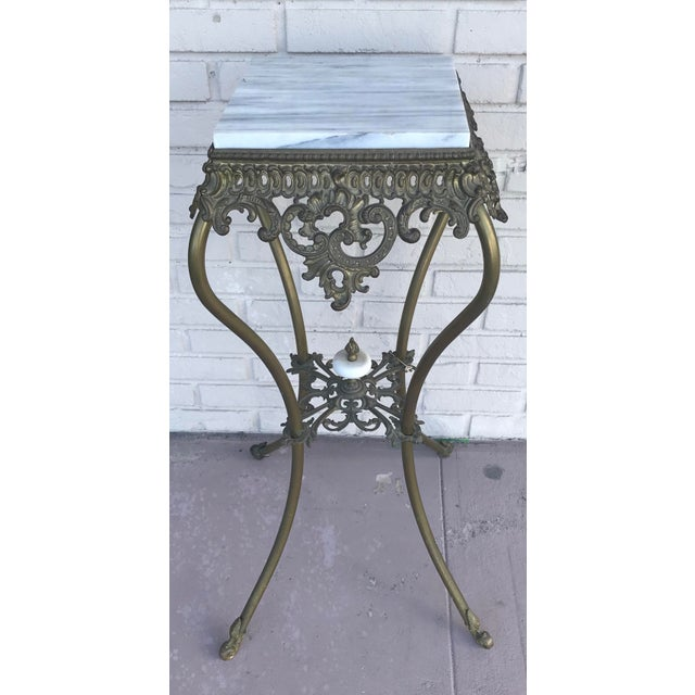 """Lovely vintage wrought iron pedestal with heavy marble top In very good condition Meas:35.5""""x14x14"""