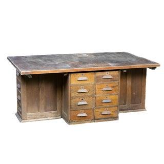 1920 Antique Industrial Laboratory Desk Kitchen Island For Sale