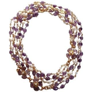 Goossens Paris Amethyst Clover Necklace For Sale