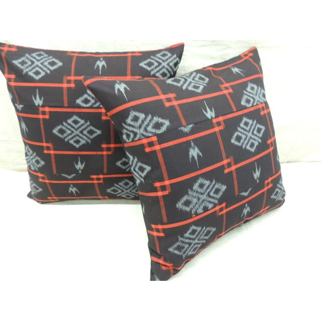 Vintage Asian Red & Black Ikat Woven Textile Square Decorative Pillows- a Pair For Sale - Image 4 of 9