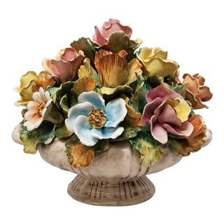 Antique Italian Bowl of Flowers Centerpiece For Sale