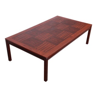 Heggen Scandinavian Modern Patchwork Rosewood Coffee Table For Sale