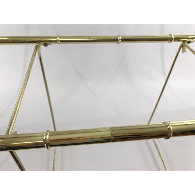 Hollywood Regency Faux Bamboo Arch Shaped Brass Etagere Frame - Image 8 of 8