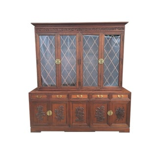 Hand Carved Asian Chinoiserie China Cabinet Hutch by Ricardo Lynn For Sale