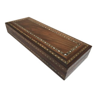 Middle Eastern Large Decorative Box Inlay With Mother-Of-Pearl For Sale