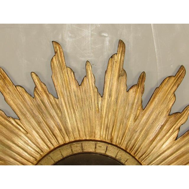 Goldenrod Spanish Gilt Wood Convex Sunburst Mirror For Sale - Image 8 of 9