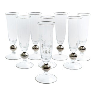 Art Deco Barware Crystal Champagne Flute Set Eight Pieces For Sale