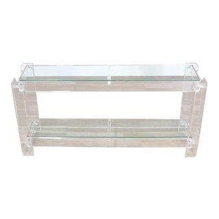 Two Tier Long Lucite Console Sofa Table For Sale