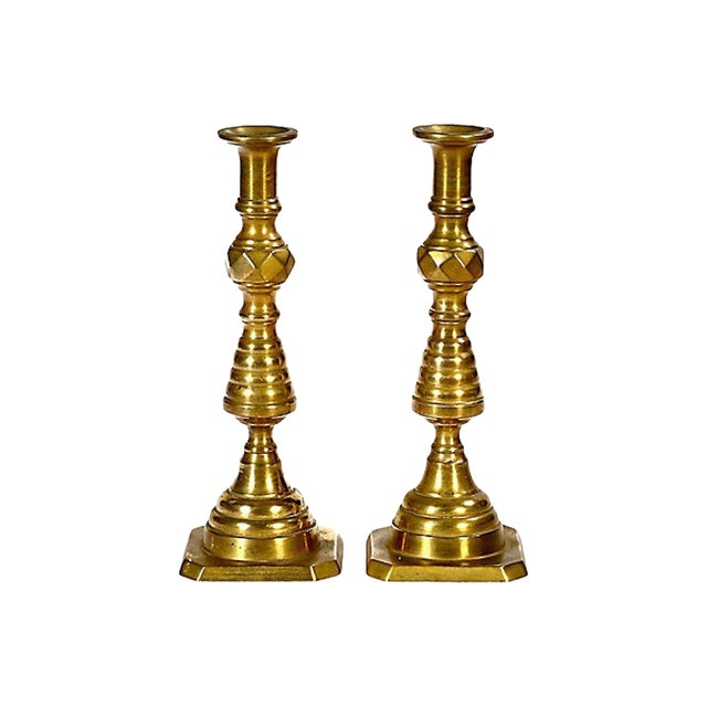 Early 20th C. Brass Candleholders, Pair For Sale