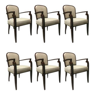 Jules Leleu Chicest Rare Set of Six Dining Chairs Newly Covered For Sale