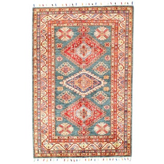 "Pasargad N Y Super Kazak Lamb's Wool Rug - 3'10"" X 5'10"" For Sale"