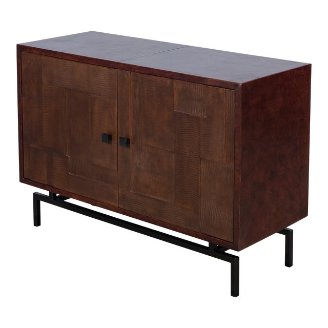 Sarreid Patchwork Leather Sideboard, 2 Dr For Sale