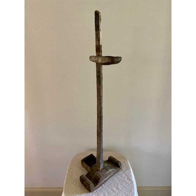 Antique oil lamp stand from Indonesia Naturally weathered teakwood. Unique and one of a kind.