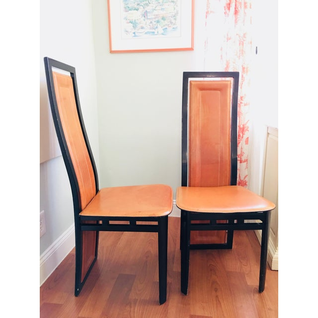 Art Deco Art Deco Inspired Roche Bubois Leather and Lacquer Dining Chairs - a Pair For Sale - Image 3 of 11