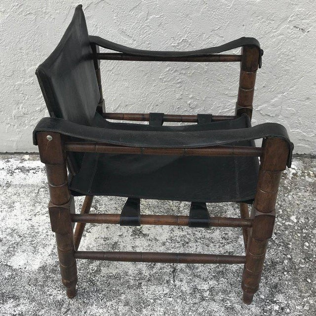 Pair of Syrian Leather Campaign / Safari Chairs For Sale - Image 4 of 12